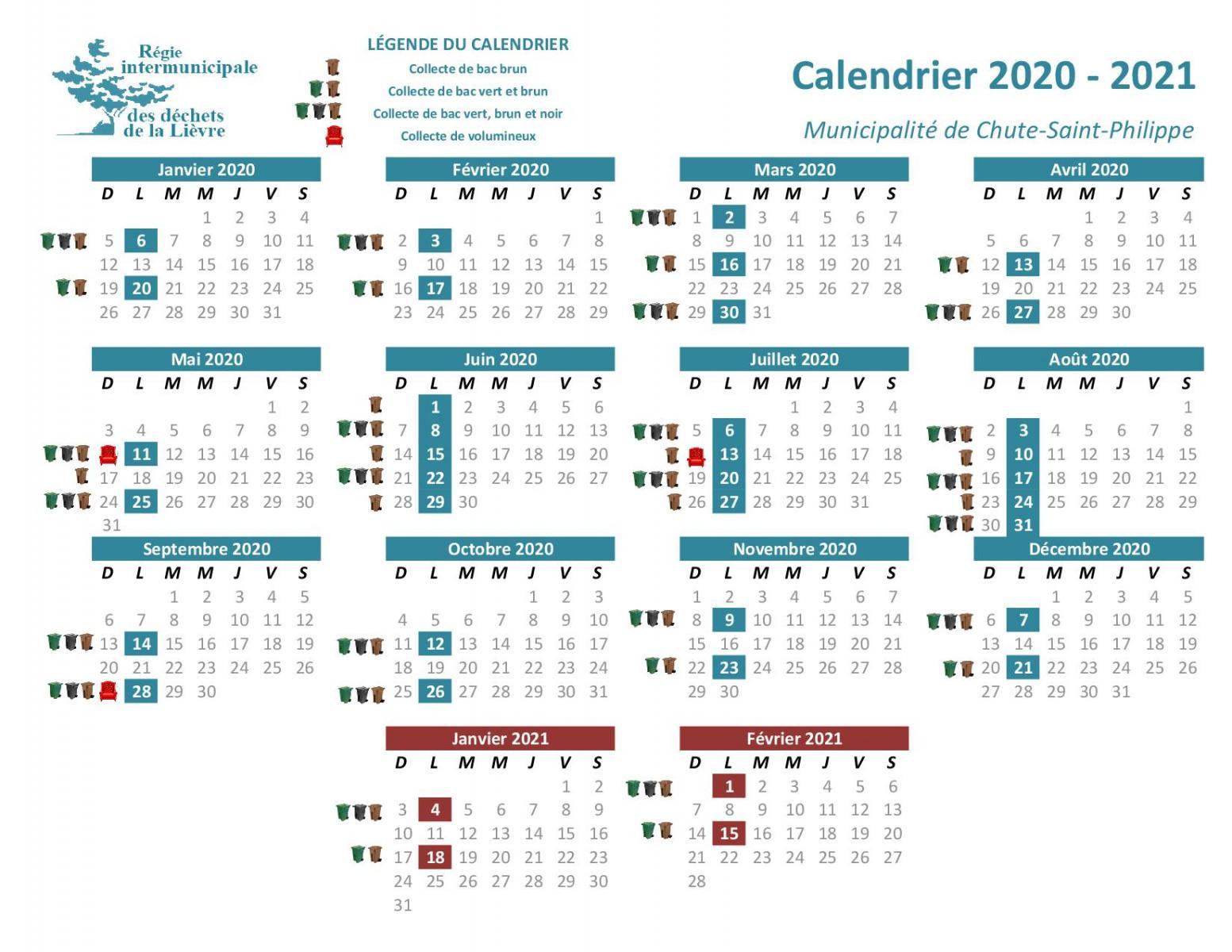 Calendrier De Collecte Des Déchets 2021 Calendriers par municipalité | RIDL