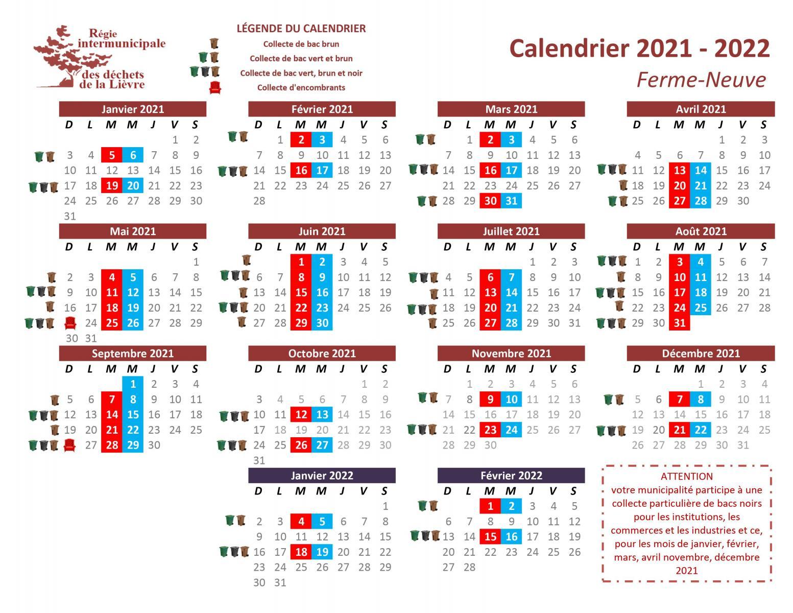 Calendrier Collecte Déchets 2022 Calendriers par municipalité   RIDL