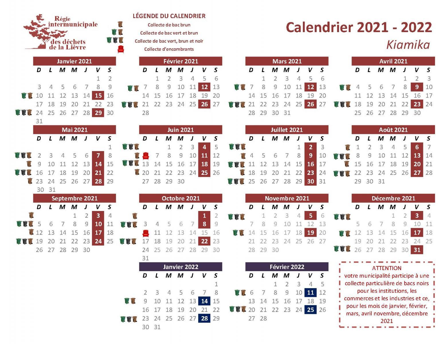 Calendrier Des Collectes 2021 2022